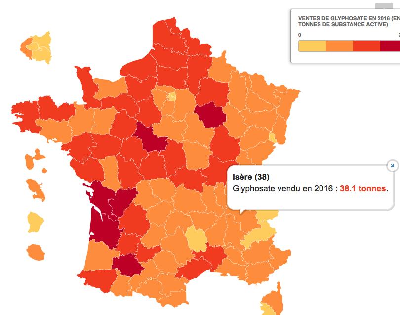 Glyphosate: dans la moyenne basse française, l'Isère en épand 38,1 tonnes…