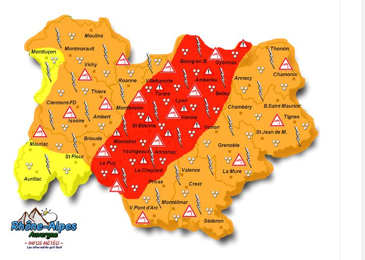 Météo France place l'Isère et le Rhône en alerte orange aux orages qui pourraient être violents