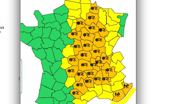 Lyon et le Nord-Isère concernés: alerte orange neige et verglas, cette nuit, jusqu'en plaine