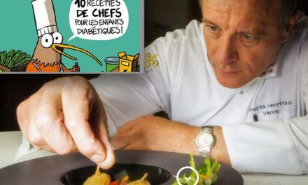 Patrick Henriroux dédicace un livre de recettes pour enfants diabétiques à la librairie Passerelles à Vienne