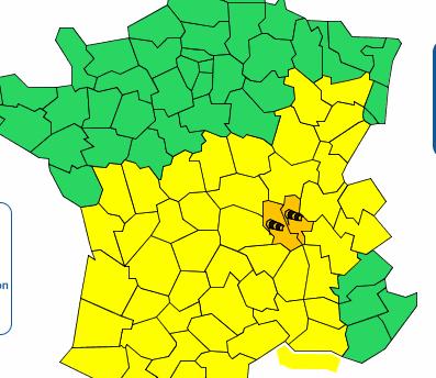 Alerte orange de Météo France aux vents violents aujourd'hui sur le Rhône, la Loire et une partie du Nord-Isère
