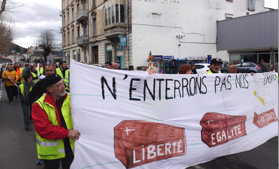 Manifestation des Gilets Jaunes à Vienne: une moindre mobilisation