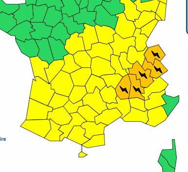 Alerte orange aux orages cet après-midi sur l'Isère