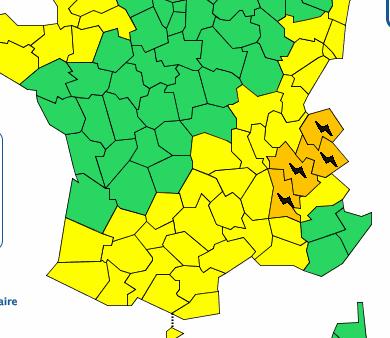 L'Isère placée en vigilance orange aux orages aujourd'hui entre 16 et 22 heures