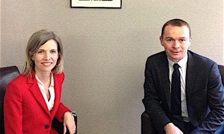 Olivier Dussopt, un membre du gouvernement  à Vienne pour apporter son soutien à Florence David, la candidate LREM