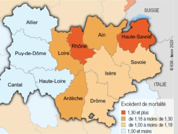 Surmortalité dans la région due au Covid-19 : 18 % de décès supplémentaires, le Rhône très touché ; l'Isère nettement moins