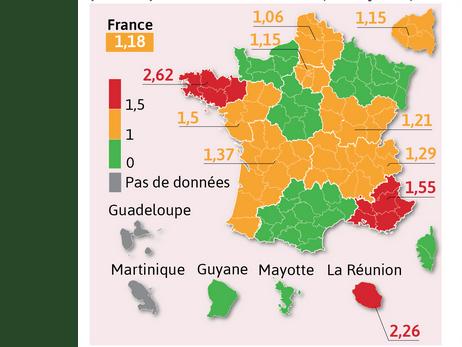 Covid-19 : légère reprise de l'épidémie, Auvergne-Rhône-Alpes passe du vert à l'orange