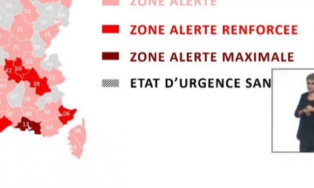 """Dures restrictions supplémentaires annoncées par Olivier Véran : Le Rhône, l'Isère et la Loire en """"zone d'alerte renforcée"""""""