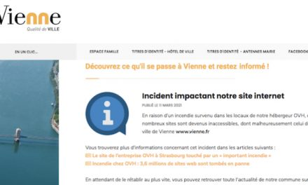 Le site Web de la Ville de Vienne touché par l'incendie des serveurs d'OVH