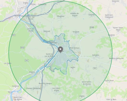 Vienne-Comment calculer la zone des 10 km autour de chez soi ?