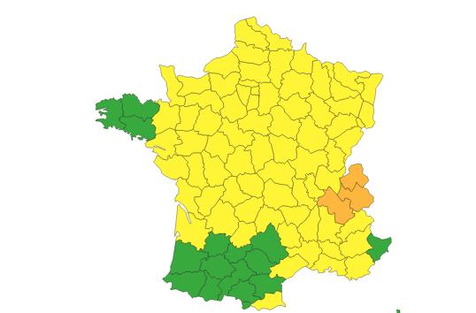 L'Isère placée par Météo France en alerte orange aux orages, pluie et inondations aujourd'hui samedi