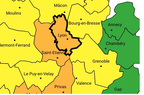 La vallée du Rhône concernée : le Rhône et la Loire en alerte orange par Météo France, l'Isère en jaune